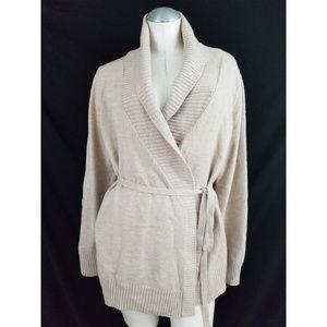 Ann Taylor Size XL Wrap Cardigan Tan Merino Wool